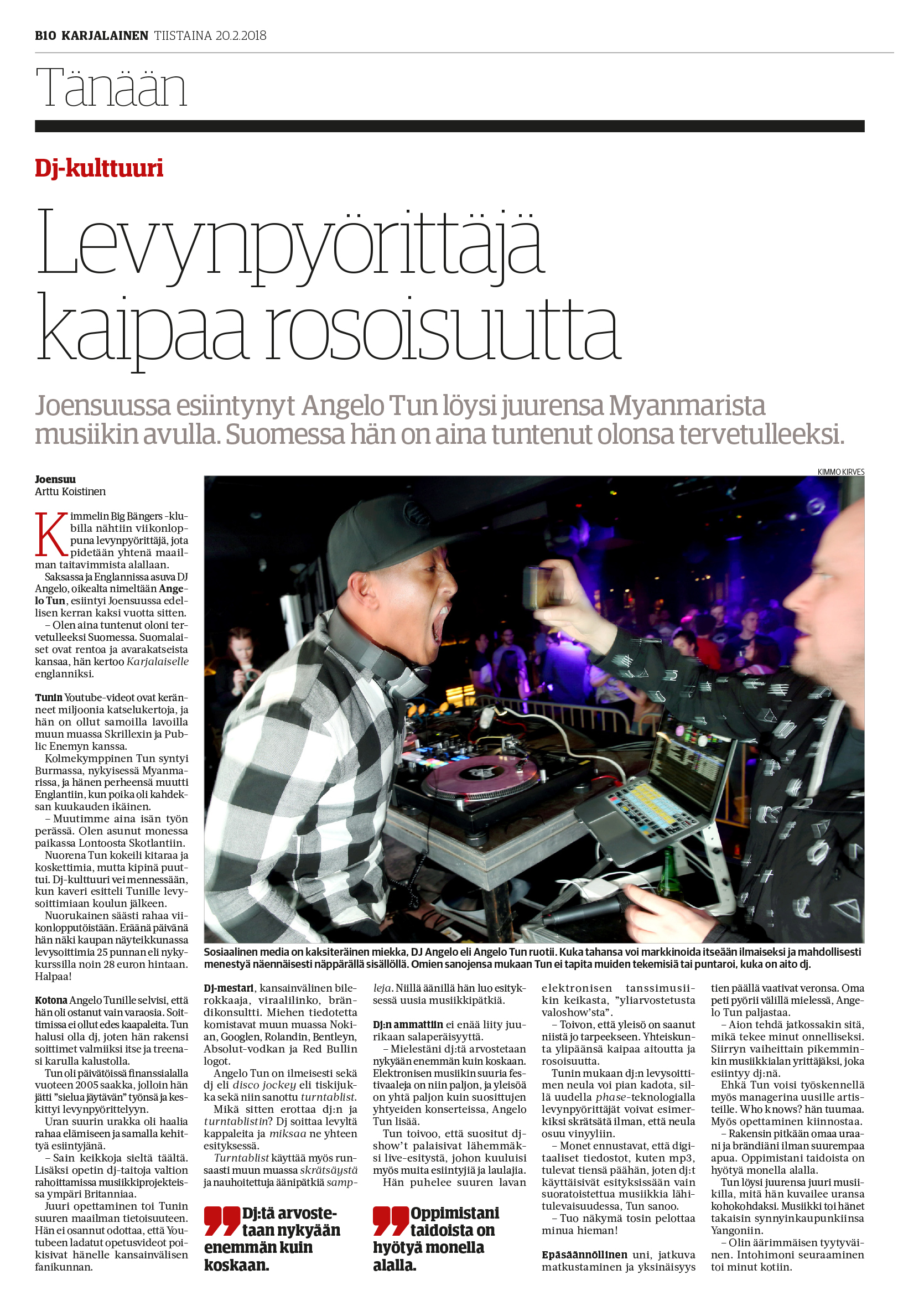 Interview for KARJALAINEN (national newspaper of Finland)